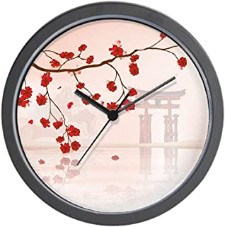 CafePress-Pretty Cherry Blossom Against A Japanese Backgroun-Wall Clock