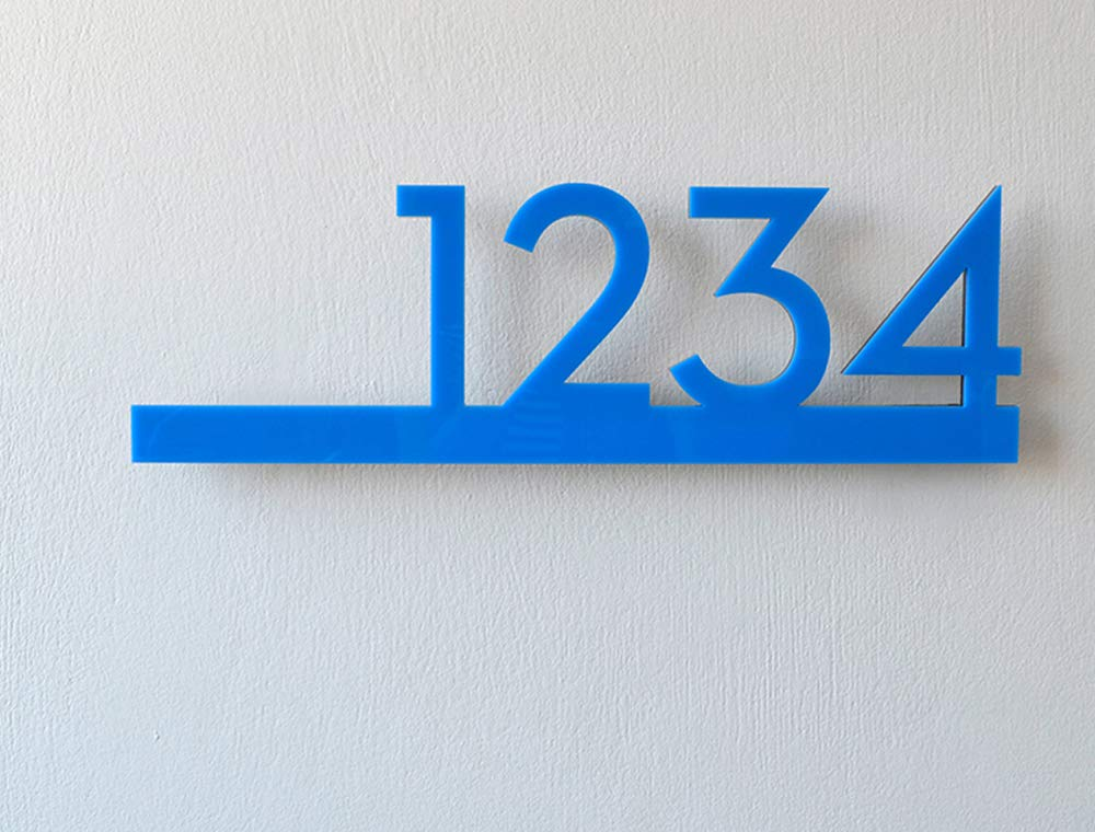 sold out Modern Lowest price challenge House Numbers - Blue with Black Acrylic Contemporary Ho