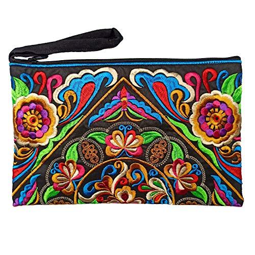 Sabai Jai - Embroidered Clutch Purse with Wristlet - Large Boho Purses and Handbags (Black/Multi Floral)