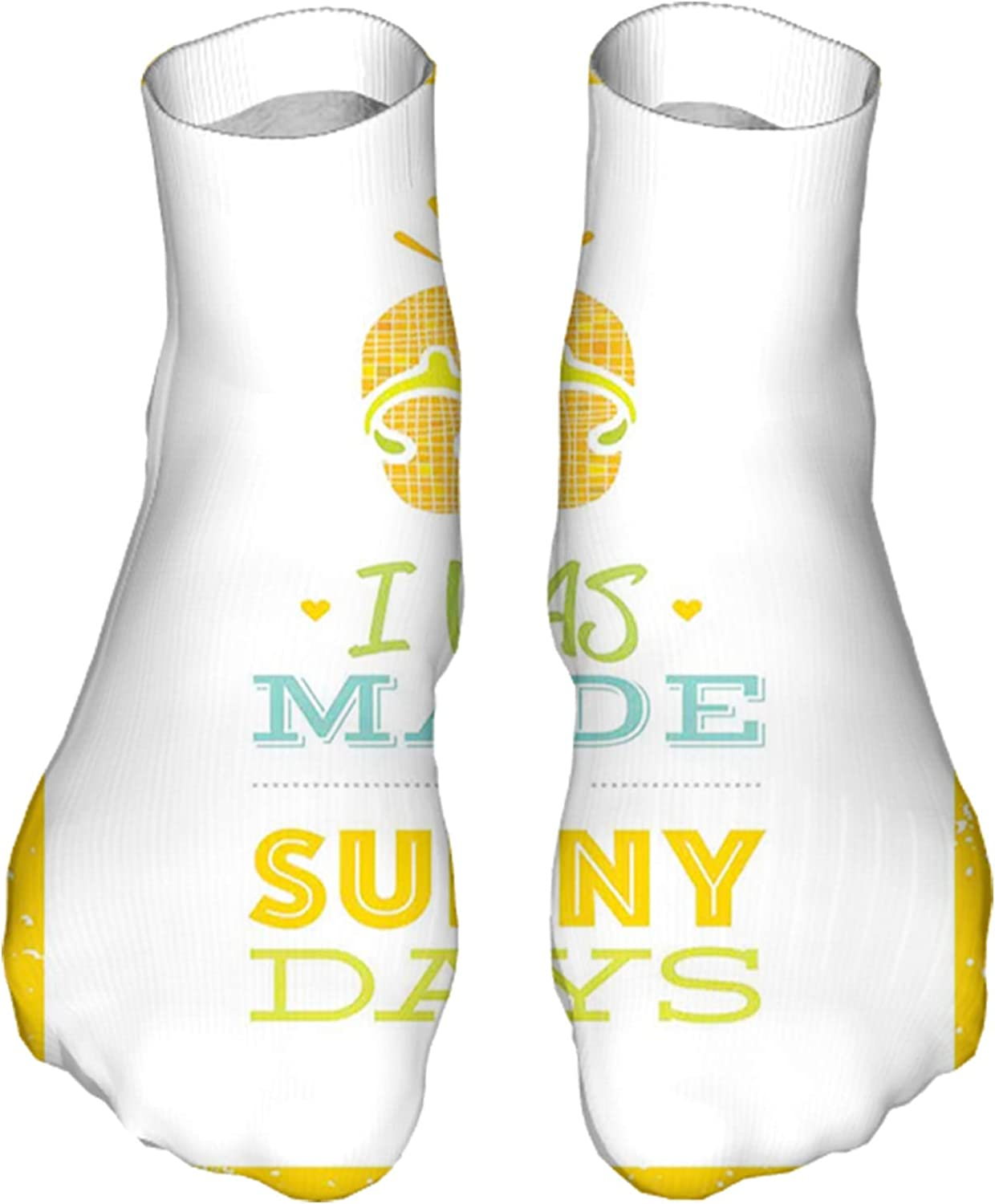 Women's Colorful Patterned Unisex Low Cut/No Show Socks,I was Made for Summer Days Quote with The Yellow Background