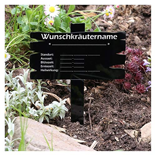 Bütic GmbH plexiglas kruiden plantenbord houtplanklook zwart - kruidenborden venkel