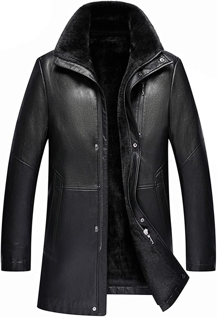 Men's Lapel Genuine Fur Mid Length Sheepskin Jacket Simulation Long Coat Leather Parka Jacket