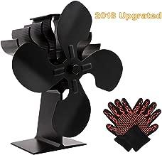 Upgraded 4-Blade Fireplace Fan,Heat Powered Wood Stove Fan Wood Burning/Log Burner/Fireplace,Eco-Friendly Efficient Heat Distribution, Heat Resistance Gloves Free