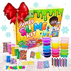 Everything You Could Ever Need - This giant slime kit for girls and boys comes with over 50 different items! Why give the gift of regular, boring toys when you could have 18 beautifully wacky colors of crystal slime ranging from clear slime, to purpl...