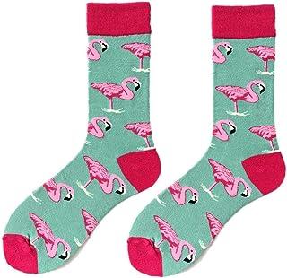 1 Par Del Flamenco Medias Del Algodón Caliente Del Calcetín Deportivo De Impresión Medio Cut Tobillo Socking Para Los Regalos De Navidad