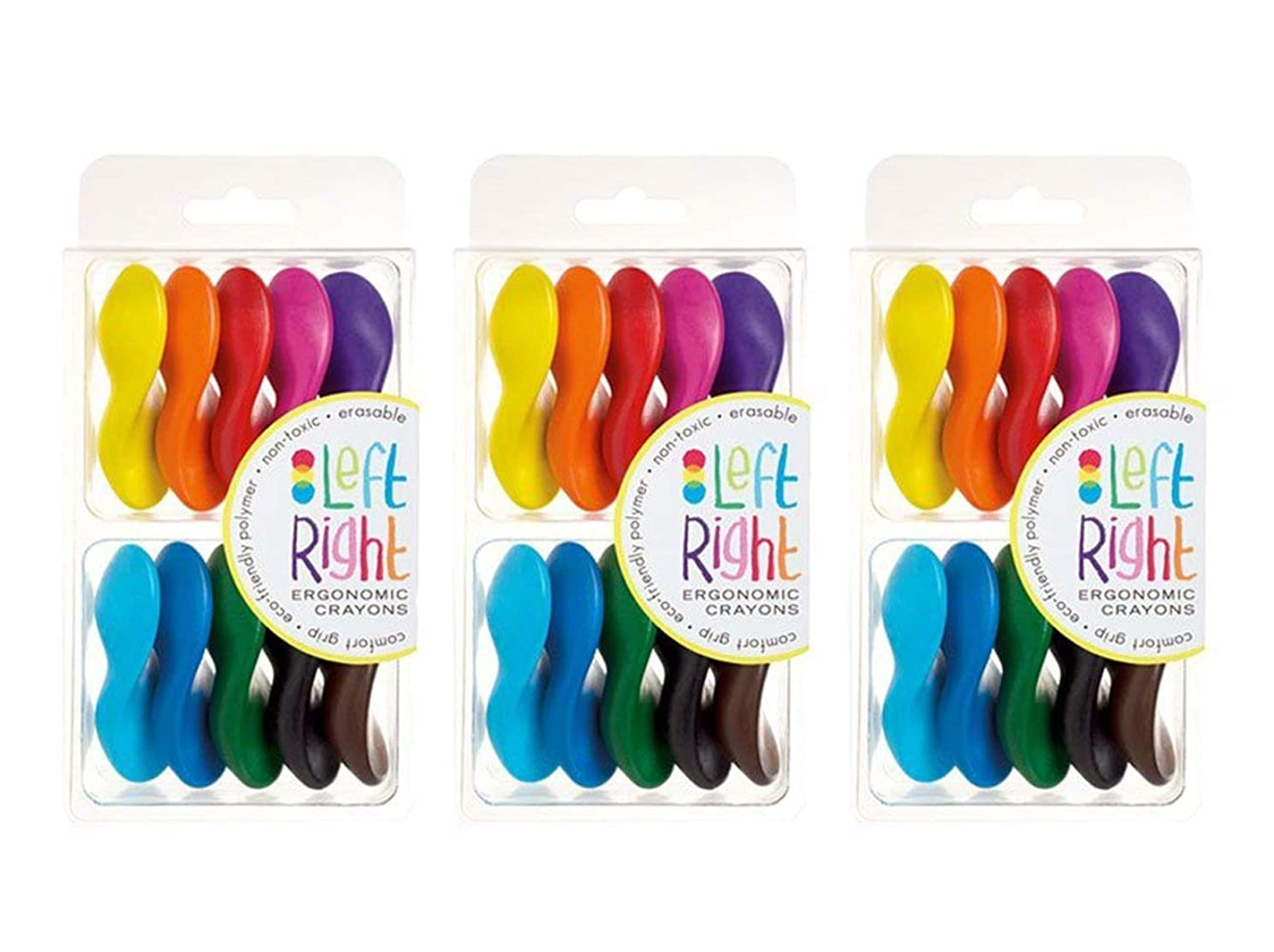 Non-Toxic, Ergonomic, Left Right Crayons, 30 Crayons (3 Sets of 10)