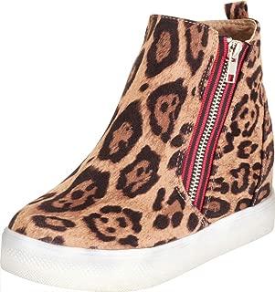 Cambridge Select Women's High Top Contrast Side Zip Hidden Wedge Fashion Sneaker