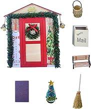 Décoration de Maison de poupée de Noël, Arbre de Noël Miniature 1: 12, Banc de Seau de Balai de boîte aux Lettres de Simul...