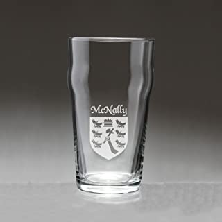 McNally Irish Coat of Arms Pub Glasses - Set of 4 (Sand Etched)