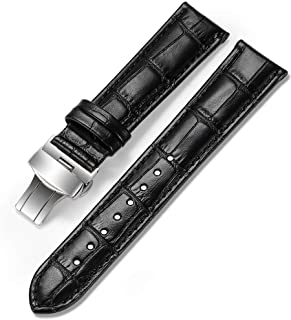iStrap Watch Band Deployment 16mm 18mm 20mm Buckle Calf Leather Padded Replacement Strap Red White Pink