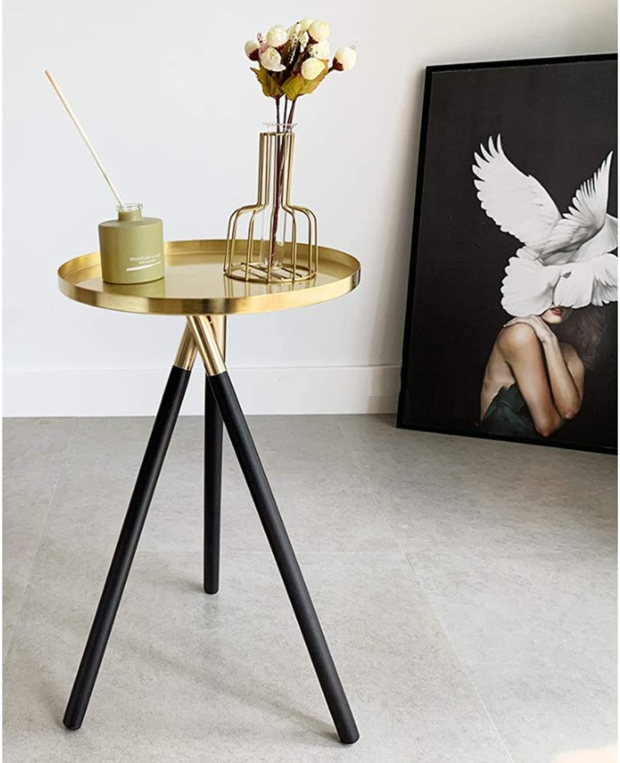 End Tables Round Metal Living Room Side Table Couch Sofa gold Bedroom Bedside for Bathroom Small Spaces Garden Entryway Office Outdoor Indoor Decor Furniture