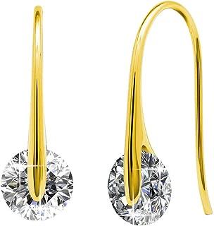 Cate & Chloe McKayla 18k White Gold Plated Dangling Earrings with Swarovski Crystal, Classic Drop Dangle-Earrings, Best Silver Earrings for Women, Small Solitaire Hook Drop Earrings with Swarovski
