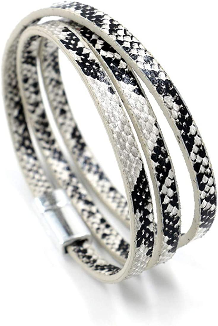 HUNO Multilayer Leopard Textured Cuff Bracelets Magnetic Buckle Snakeskin PU Leather Wrap Cuff Bangle for Women Girls