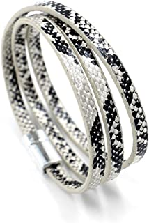 Multilayer Leopard Textured Cuff Bracelets Magnetic Buckle Snakeskin PU Leather Wrap Cuff Bangle for Women Girls