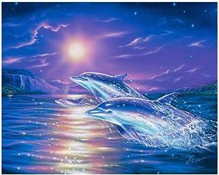 Blue Sea Dolphin Animals Diamond Painting Cross Stitch Moon Night Sea View Needlework Diamond Embroidery Kits -40x55cm