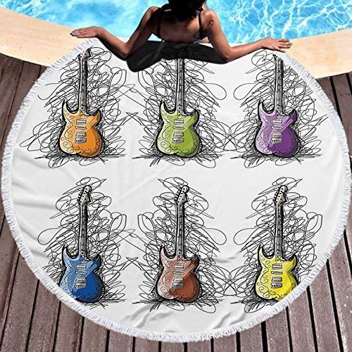 Toalla de microfibra Toalla de playa Diseño de color forrado Collage de guitarra para adolescentes Imagen de amantes de la canción rockera Playa multicolor 59inch