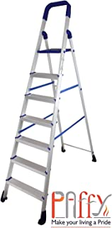 Paffy Premium Light Weight Aluminium Heavy Duty Folding Step Ladder - Homepro 7 Steps * Made In India + 1 Laundry Bag