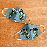 Lot de 2 masques barrières Mickey Mouse 5 couches en microfibre haute qualité lavable pour Enfant