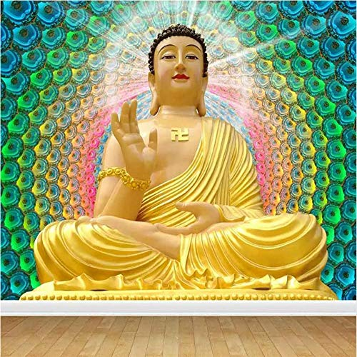 Mural Non Woven 3D Effect Wallpaper 450 * 300Cm Temple Temple Golden Glowing Buddha Statue Self-Adhesive 3D Wall Stickers for Girls Room Wall Decal Poster Picture Holiday Gift Decoration