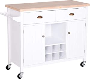 HOMCOM Kitchen Island Utility Cart on Wheels with Large Counter, 2 Spacious Drawers & Storage Cabinets, Wine Storage