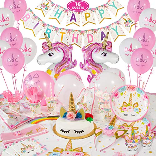Unicorn Birthday Decorations for Girls - Unicorn Party Supplies - 211 Pieces - Disposable Tableware Kit Serves 16 - Headband - Cake Topper with Eyelashes - Unicorn Balloons – Birthday Banner – BONUS Bracelet, Ring, and Birthday Sash