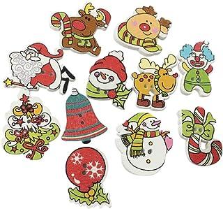 BESTOYARD 100 peças de botões de madeira de Natal enfeites de costura Botões de artesanato Mini árvore de Natal boneco de ...