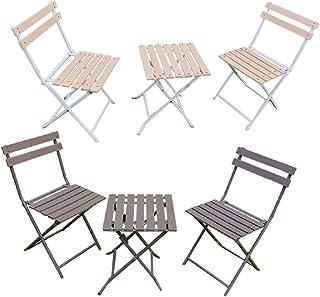 人工木 ガーデン コンパクト テーブル & チェア 3点セット【テーブル1台・チェア2脚】(ナチュラルブラウン)aks35356 ガーデンファニチャー セット デッキチェア 屋外 庭 テラス