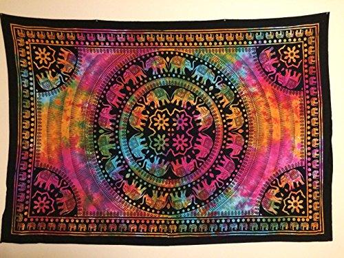 Jaipur Handloom Colorful Elephant Hippie Hippy Tapestry Wall Hanging Throw Tie Dye Hippie Hippy Boho Bohemian Tye Die Hand-loomed Window Doorway Door Curtain