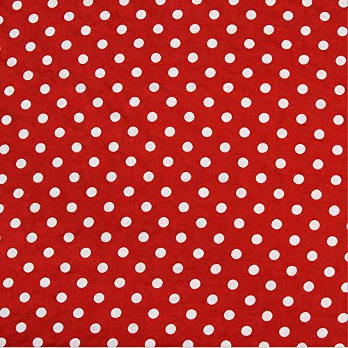 Rancheng 50cmx142cm Tissu Impression à Pois Coton Tissus au Metres Matériel Couture Patchwork Bricolage Artisanats tissu a coudre Loisirs créatifs Rouge