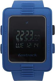38009PP02  ساعة فاستراك ديجيتال للرجال ، مقاومة الماء 30 م ، وجه أسود ، حزام سيليكون ، ازرق