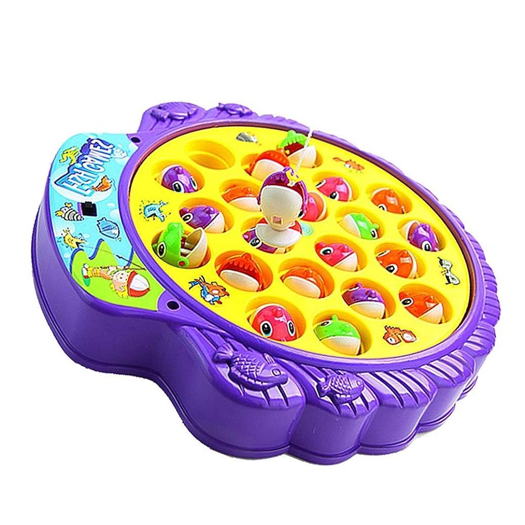 道路死傷者オーバーフローXyanzi 子どもおもちゃ ミニフィッシング玩具、単層回転ボード付きフィッシングゲーム玩具セット8個の魚と2個の釣り竿が含まれています(電池は含まれていません)
