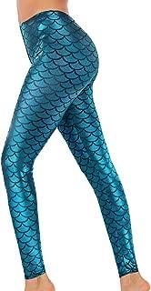 Halloween Shiny Fish Scale Mermaid Leggings for Women Pants S-4XL