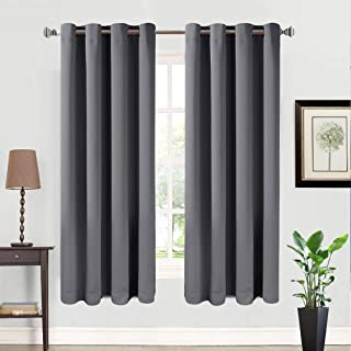 BALICHUN 2 Panels Blackout Curtains Thermal Insulated Solid Grommets Curtains for Bedroom/Living Room (Dark Grey, W52 x L63)