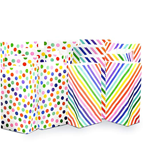 UNIQOOO 72Pcs Rainbow Paper Treat Bags Bulk, Small 7x3½ x2 Inch, 100% Food Safe Pastry Cookie Bags, for Halloween Trick or Treat Thanksgiving Birthday Party Favor Candy Buffet Bag, Polka Dots Strips