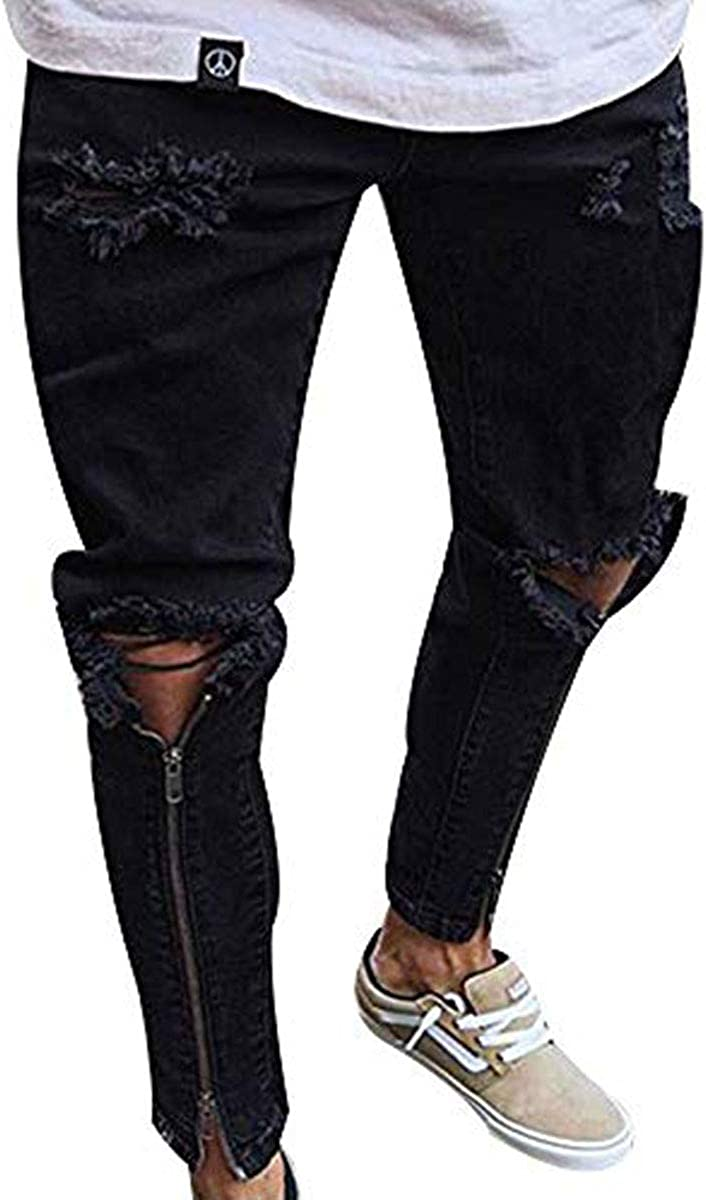SEAWEED Men's Weekly update OFFicial Patched Ripped Casual Distressed Slim Fitted Skinn