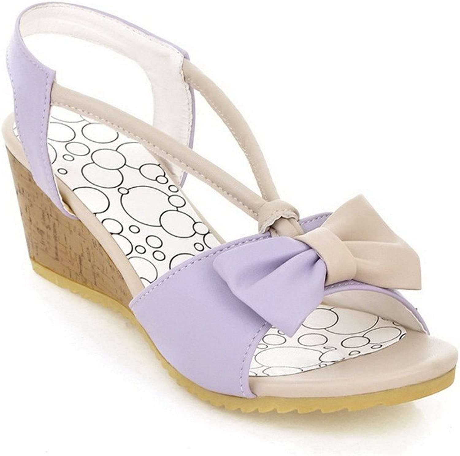 AmoonyFashion Womens Open Toe Mid Heel Wedge Soft Material PU Solid Sandals with Bowknot, Purple, 7.5 B(M) US