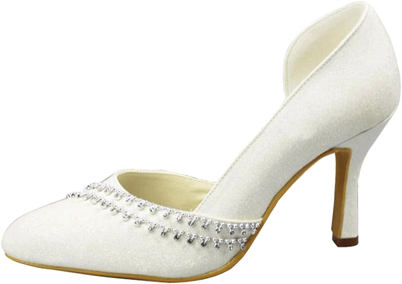 Minishion Girls Womens D-Orsay Glitter Crystals Bridal Wedding Pumps shoes