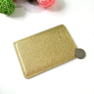 Makeup Mirror, Fashion Simple Stainless Steel 1Pc, Anti-Fall Portable Pu Leather Sleeve Pocket Glitter Makeup Mirror, Gold...