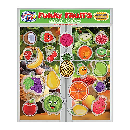 Price comparison product image Fun Fruits Thick Gel Clings Reusable Removable Glass Window Clings for Kids,  Toddlers and Adults - Incredible Removable Gel Decals of Oranges,  Apples,  Bananas, Home,  Airplane,  Classroom