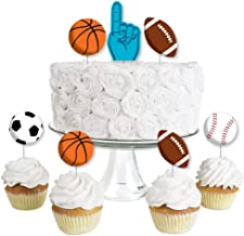 Go, Fight, Win - Sports - Dessert Cupcake Toppers - Baby Shower or Birthday Party Clear Treat Picks - Set of 24