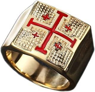 Jerusalem Cross Crusaders Stainless Steel Ring Jewelry Accessories for Men Women