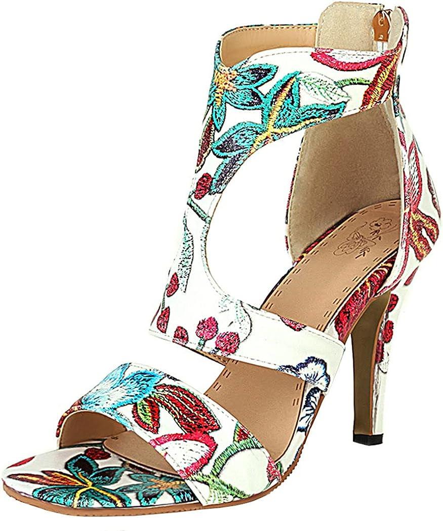 KIKIVIVI Ranking TOP2 Womens New products, world's highest quality popular! Floral T Strap Stiletto Sanda Toe Heel Peep High