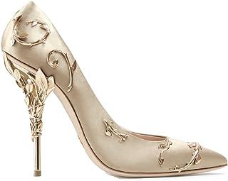 Boussac Elegant Silk Women Pumps High Heels Rhinestone Flower Wedding Pumps  Brand Design Pointed Toe High ad7a842efa65