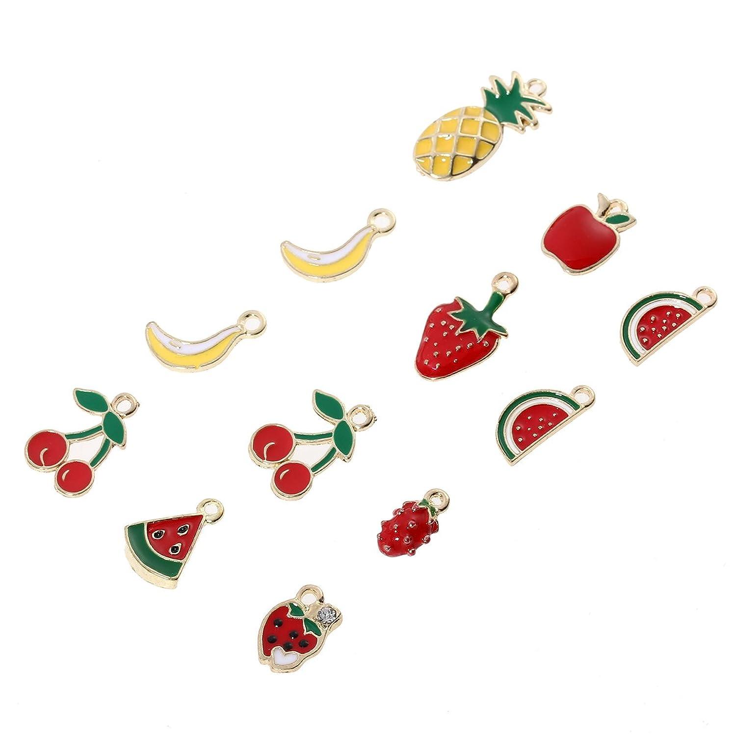 LUOEM 12pcs Cute Fruit Charms Pendant Mixed Gold Enamel Pendants for Jewelry DIY Making