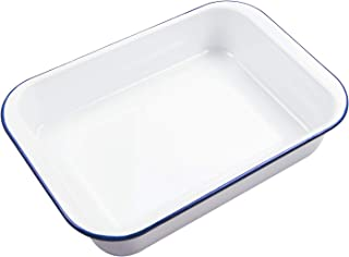 Webake Enamelware 9x13 Baking Pan Oblong Cake Pan Enameled Steel Roasting Pan Baking Dish Lasagna Pan Food Containers, Solid White with Blue Rim