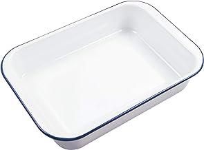 Webake Enamelware 9x13 Baking Pan Oblong Cake Pan Enameled Steel Roasting Pan Baking Dish Lasagna Pan Food Containers, Sol...