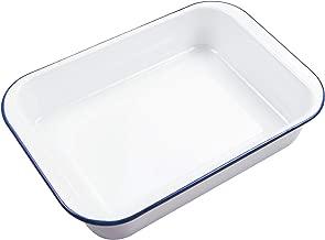 Webake Enamelware 9x13 Baking Pan Oblong Cake Pan Enameled Steel Roasting Pan Baking Dish Lasagna Pan Food Containers, Solid White with Blue Rim