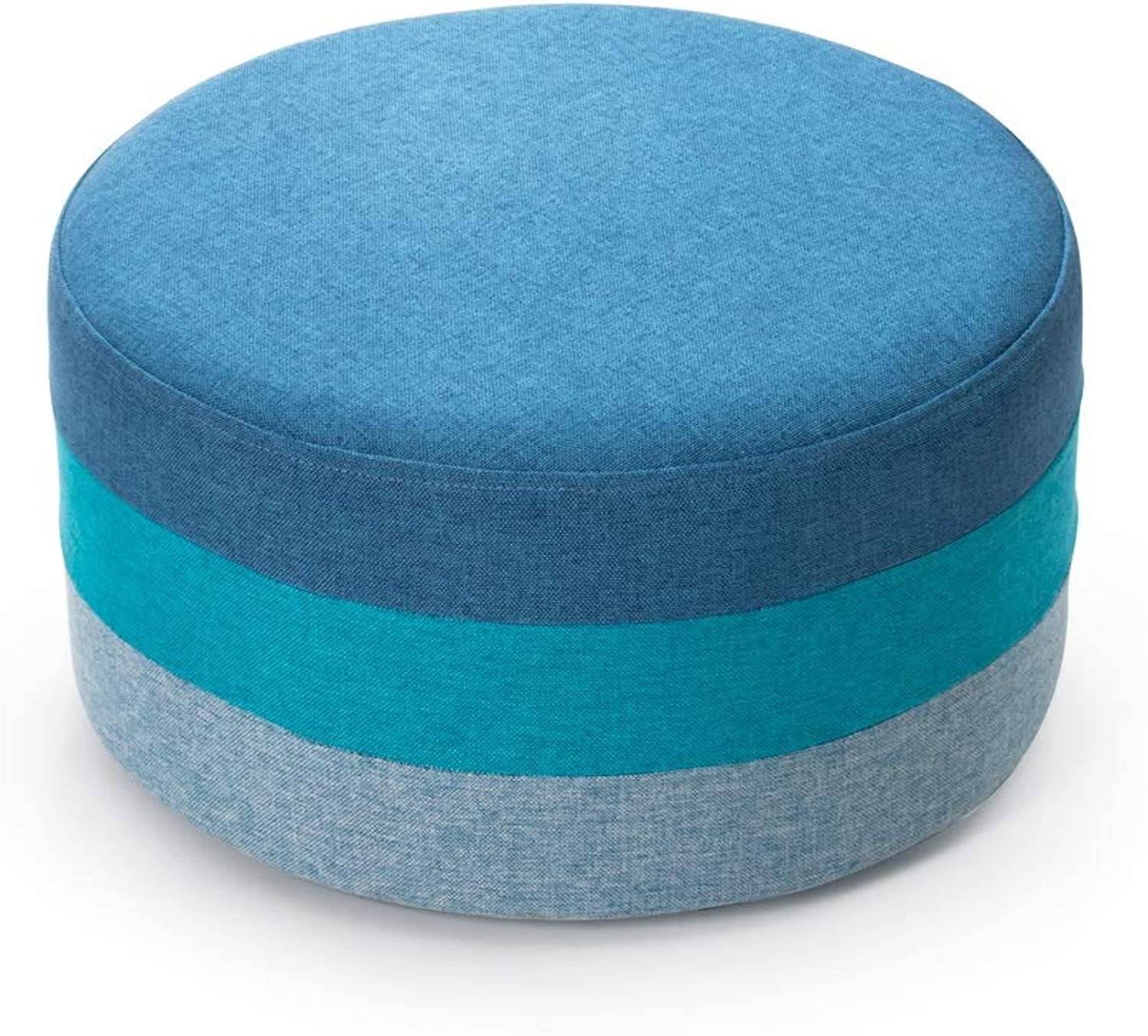 LifeX Creative Low Rainbow Sofa Stool Small Mixed colors shoes Bench Cloth Fabric Seat Pier High Elastic Sponge Footstool Washable Pudding Stool Round Bed End Stool (color   bluee)