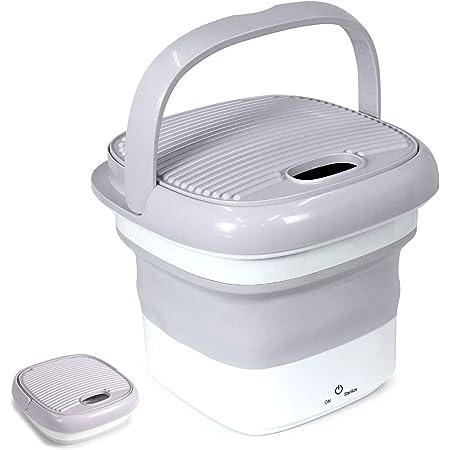 [1年保証] 改良版 MRG 小型 洗濯機 折りたたみ式 洗浄機 28.5×28.5×24cm オゾン & 超音波 洗浄 除菌 消臭 充電式 ベビー用品 グッズ 洗濯 (グレー×ホワイト)
