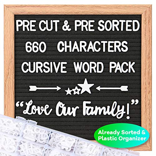 Felt Letter Board with Letters - Cursive Word Pack, Pre Cut & Sorted 660 Characters, 10X10 Letter Board, Message Sign, Changeable Letter Boards with Stand, Plastic Organizer, Wall Mount, Gift Box.